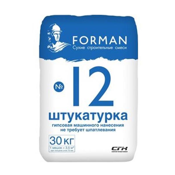 Штукатурка гипсовая Forman 12 МН белая, 30 кг