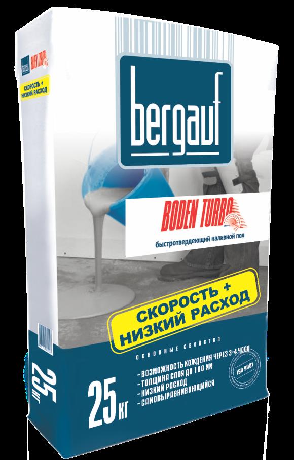Наливной пол быстротвердеющий Bergauf Boden Turbo, 20 кг
