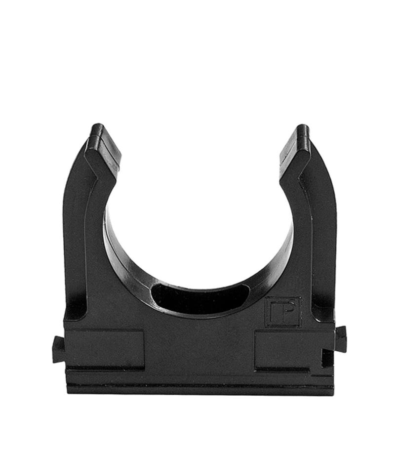 Крепеж-клипса для труб 16 мм черная (100 шт.)